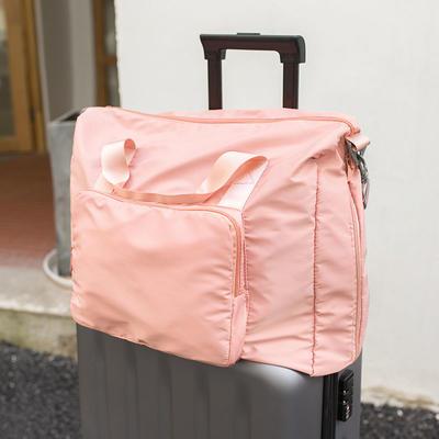 Travel Bag Folding Cloth Trolley Bag Pink Portable Overnight Travel Bag